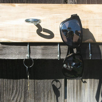 Driftwood Sunglass, Key & Leash Wall Rack // Wall Mount Storage Holder for Entryway // Salvaged, Upcycled // OOAK Rustic Decor