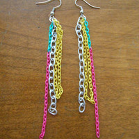 4 inch long chain Silver, Pink, Yellow and Green Chandelier Earrings