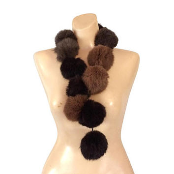 Mink Ball Scarf Mink Fur Scarf Genuine Fur Scarf Real Fur Scarf Winter Scarf Women Brown Fur Scarf Neck Scarf Women Outerwear Ladies Scarves