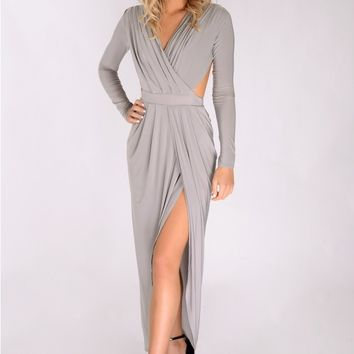 Hannah Slinky Split Maxi Dress Light Grey