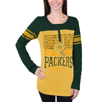 Green Bay Packers New Era Women's Tri-Blend Henley Long Sleeve T-Shirt - Gold/Green