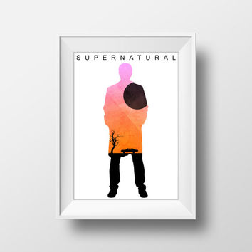 Supernatural Poster, Castiel Print, Minimalist, Movie Poster, TV Series