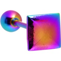 Rainbow Raised Square Anodized Titanium Barbell