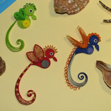 A set of three quilling seahorses 100% handmade