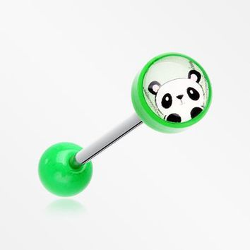 Panda the China Icon Top Acrylic Barbell Tongue Ring