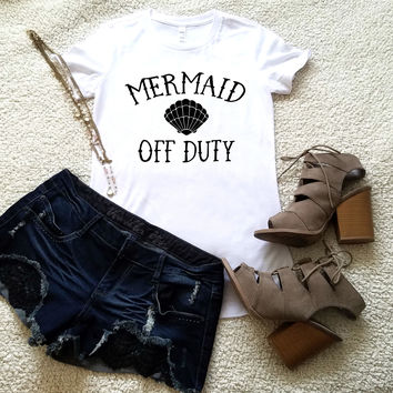 Mermaid off duty t-shirt available in size s, med, large, and Xl for women