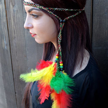 Rasta Feather Headband - Hippie Headband - Rastafarian - Reggae Headband - Boho - Bohemian -  Costume Accessories