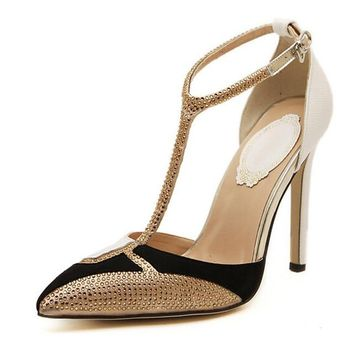 T-Strap  Pointed Toe Gold Rhinestone Pumps
