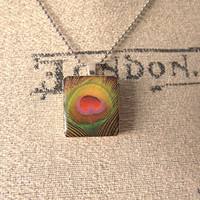 Scrabble Tile Feather Charm and Ball Chain by SirensAllure