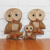 PAIR of Vintage Foamcraft Owl Wall Hangings Brown and Orange 1980s Retro Home Decor