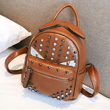 Fendi New fashion rivets diamond backpack bag women
