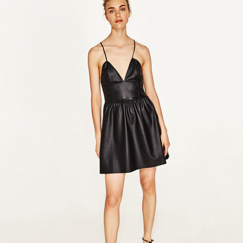FAUX LEATHER DRESS WITH STRAPS
