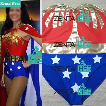 Free Shipping Custom Made Wonder Woman Costumes With Cape For Halloween Girl Zentai Catsuit Cosplay Superhero Costume 18012607