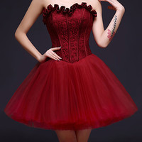 Burgundy Strapless Frill Sweetheart Lace Overlay Homecoming Dress