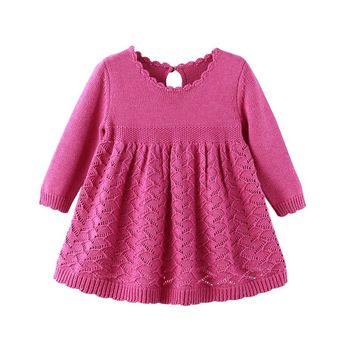 Auro Mesa Girls Princess Knitted Full Sleeve Dress 1 year birthday dress Infant baby girls Clothes Cute baby dress