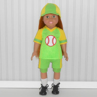 American Girl or Boy Doll Clothes Green and Yellow Baseball Uniform with Hat and Knee Pads and Optional Cleats fits 18 inch dolls