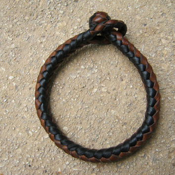 Braided leather bracelet 8 strands