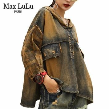 Max LuLu Hooded Wing Embroidery Luxury Ombre Dyed Denim Shirt