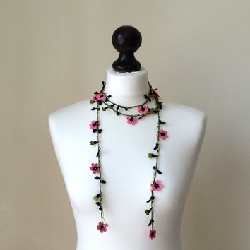 Cherry Blossom Crochet Necklace 200 cm Oya Pink Flowers Green Leaves Beaded Lariat Jewellery, Beadwork, ReddApple, Gift Ideas for Her