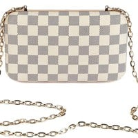 Daisy Rose Checkered Minaudiere Evening bag - RFID Blocking Cross body clutch -PU Vegan Leather