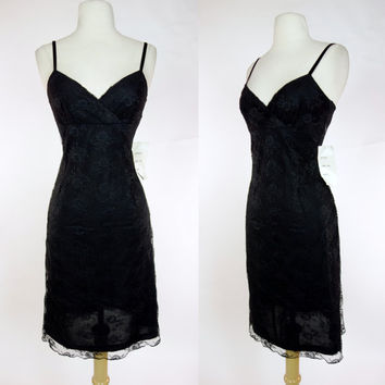 1980s black lace dress, sweet heart spaghetti strap mini dress, cocktail, party, formal dress, Small