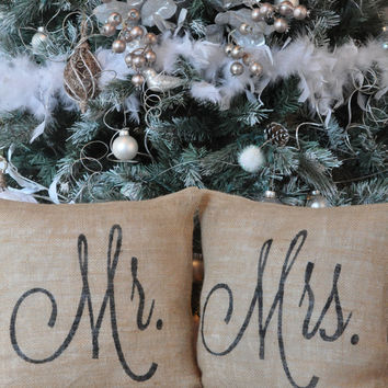 Mr. & Mrs. Pillow Cover Set --Burlap Pillow- Wedding Decor - Wedding Gift - Shabby Chic - Personalized Pillow