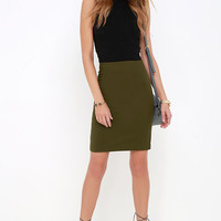 Sophisticated Style Olive Green Pencil Skirt