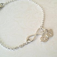 Infinity Bracelet Sterling Silver Personalized Birds/Baby Chicks With Initials of Choice--Best Friend Bracelt-/Mom Bracelet