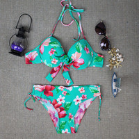 Womens Green Flower Pattern Halter Bikini Floral Print Swimwear Swimsuit for Summer
