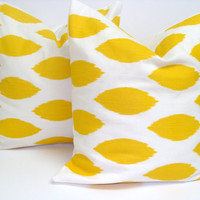 Yellow Pillows.Set of TWO.18x18 inch.Decorator Pillow Covers.Printed Fabric Front and Back.Ikat.Spots