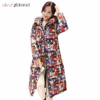 AKSLXDMMD Parkas Women's Winter Jacket 2017 New Large Size Slim Long Coat Printed Little Monster Thick Padded-cotton Coat LH1044