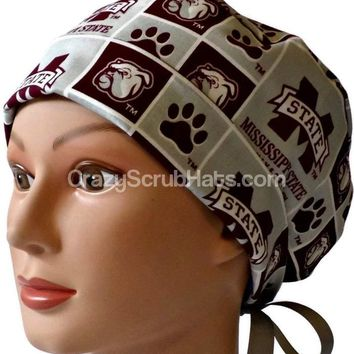 Women's Pixie Surgical Scrub Hat Cap in Mississippi Bulldogs