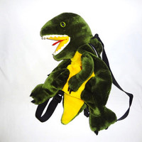 ANIMAL BACKPACK DINOSAUR T Rex Green and Yellow Raver Club Kid Seapunk Grunge Bag