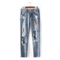 2016 Trending Fashion Women Casual Ankle-length Big Hole Ripped Destroyed Distressed Jeans Denim _ 9772