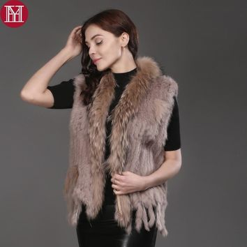 2017 Hot Sale Women Real Rabbit Fur Vest Knitted 100% Real Genuine Rabbit Fur Gilet with tassels Raccoon Fur Collar Fur Coat