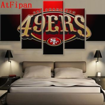 AtFipan 5 Pieces SF 49ers Fans Poster Canvas Painting Wall Art Modular Pictures Good Quality Wall Pictures For Sport Boys Room