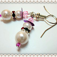 Pearl Snowman Earrings~ Snowman Christmas Earrings~Women's Christmas Snowman Pearl Earrings