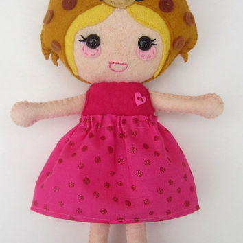 Cheetah Doll, Cheetah Hat with Spots, Hot Pink Dress and Ribbon, Felt Hand Stitched OOAK