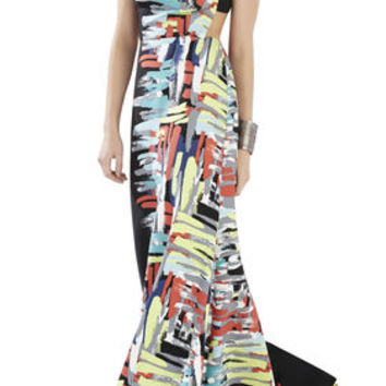 Pink BCBG Zhanna Printed Open-Back Gown