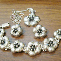 Pendant, Bracelet, Pierced Earring Set Mexico 925 Sterling Silver