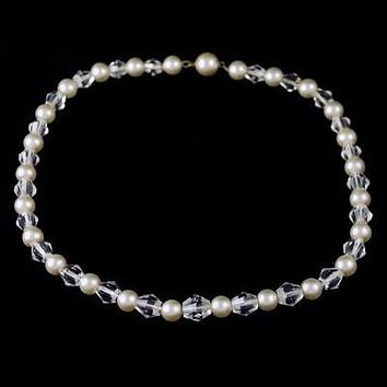 Vintage Pearl & Crystal Choker Necklace 1940S