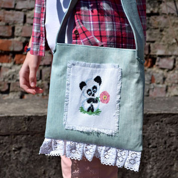 Denim kid's purse Panda embroidered bag Girl handbag Kid tote bag Fabric tote blue denim Shoulder Bag cross body Library Bag Beach kawaii