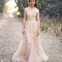 Pink Tulle Long Wedding Evening Bridesmaid Dress Bridal Formal Gown Custom size