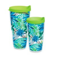 Tervis® Blue Mums Wrap Tumbler with Green Lid