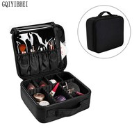 GQIYIBBEI Multilayer Detachable Zip Lock Waterproof Oxford Makeup Organizer Storage Box Beautician Cosmetic Suitcase Holders