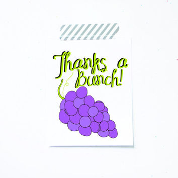 Thank You Card. Thanks a bunch. Grapes purple. Thank you so much card. Thanks card. Little Sloth.