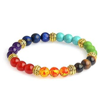 Fun Daisy 8mm Lava Rock Beads Chakra Bracelet Colorful Healing Energy Stone Charm Bracelet Stretch