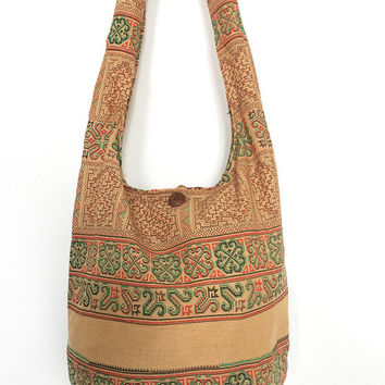 Thai Hmong Print Pattern Sling Bag Shoulder Bag CrossBody Bag Messenger Bag Cotton Hippie Boho Bag Style Handmade Yellow Ochre