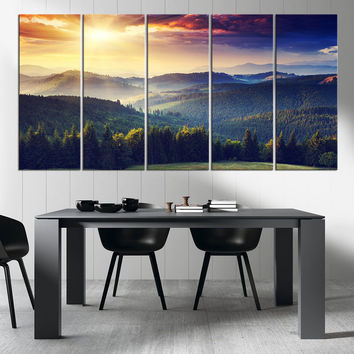 Canvas Art Print Mountain and Autumn, Extra Large Wall Art Canvas Print, Sunset on Mountain Large 5 Panel Canvas Print, Blue Mountains Art