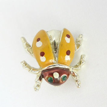 Vintage Brooch, Ladybug Brooch, Yellow Enamel Spotted Green Eyed Bug, Figural Pin, Vintage Jewelry